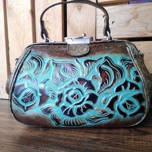 PATRICIA NASH TURQUOISE BROWN FRAME BAG GUC